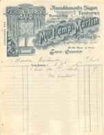 FACTURE 1906 MAISON KEMP MARTIN AMEUBLEMENTS SIEGES TENTURES  SAINT QUENTIN - Frankreich