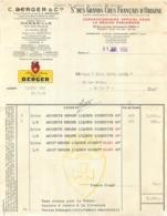 FACTURE 1950  C. BERGER ET CIE  STE DES GRANDS CRUS FRANCAIS D'ORIGINE PARIS - 1900 – 1949