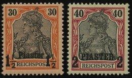 DP TÜRKEI 16/7I **, 1900/01, 11/2 PIA Auf 30 Pf. Und 2 PIA Auf 40 Pf., Postfrisch, üblich Gezähnt Pracht, Mi. 60.- - Offices: Turkish Empire