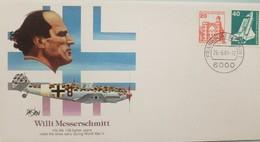 L) 1981 GERMANY, WILLI MESSERSCHMITT, AIRPLANE, ARCHITECTURE, 20, ORANGE, FDC - Germany