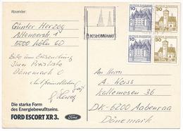 Booklet Pane Quarter Bloc Slogan Postcard / Ford Escort - 21 March 1982 Köln 1 To Denmark - Briefe U. Dokumente