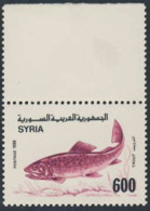 SYRIA (1989) Trout. Margin Pair - But Stamp Did Not Print On Outer Example! Scott No 1182, Yvert No 875. - Poissons