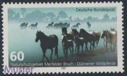 GERMANY (1987) Dulmen's Wild Horses. MUSTER (Specimen) Overprint. Scott No 1512, Yvert No 1160. - Variétés