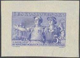 CZECHOSLOVAKIA (1950) Steel Workers. Die Proof In Blue. Czech-Soviet Friendship. Scott No 437, Yvert No 555. - Essais & Réimpressions