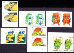 LIBERIA (1999) Dinosaurs. Set Of 6 Imperforate Pairs. Scott Nos 1406-11. - Briefmarken