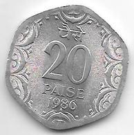 *  India  20  Paisa     1986 B Km 44   Unc - Inde
