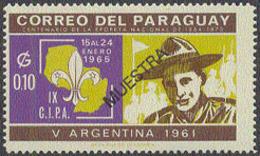 PARAGUAY (1965) Scout. MUESTRA (specimen) Overprint. Argentina Jamboree 1961. Scott No 850, Yvert No 785. - Scoutismo