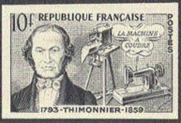 FRANCE (1955) Thimonnier. Sewing Machine. Black Print On Carton. Scott No 758, Yvert No 1013. - Prove