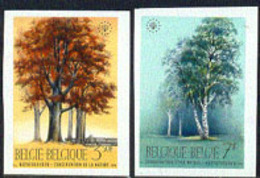 BELGIUM (1970) Beech. Birch Trees. Set Of 2 Imperforates. Scott Nos 737-8, Yvert Nos 1526-7. - Non Dentellati