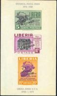 "LIBERIA (1950) UPU Emblem. Imperforate S/S Overprinted ""U.P.U. JUBILEE SPECIMEN"". Scott No 67a, Yvert No BF2. - UPU (Union Postale Universelle)"