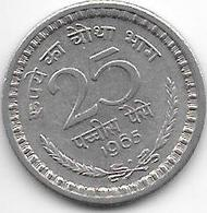 *  India  25  Paisa     1965 B Km 48.2   Vf+ - Inde