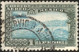J) 1929 MEXICO, BRIDGE OF TEPECAYO, PTO UNIVERSITY, CIRCULAR CANCELLATION, AIRMAIL, MN - Mexico