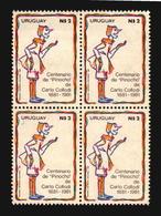 Centenario Pinocchio Carlo Collodi Uruguay Quartina MNH Block Of 4 Sc#1123 Puppet Pinocho  (a_4275) - Fiabe, Racconti Popolari & Leggende