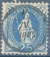 Stehende Helvetia 73E, 25 Rp.blau  ANNULLIERUNGSSTEMPEL          1902 - Usati