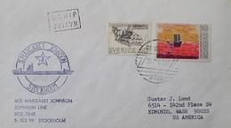 """A270 - ✉️ Postée à Bord Du NAVIRE """"Margaret Johnson """" Et Déposée Au 1er Port - STOCKOLM (SUEDE) / BRUGGE / ETATS-UNIS - Postmark Collection (Covers)"""