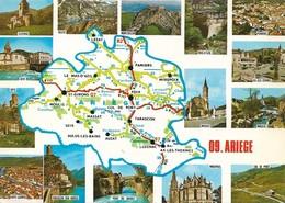 09 Carte Du Département De L'Ariège (2 Scans) - France