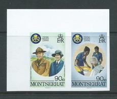 Montserrat 1986 Girl Guide Anniversary 90c Baden Powell Imperforate Plate Proof Pair MNH - Montserrat