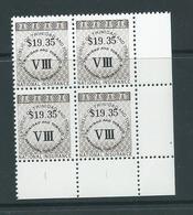 Trinidad & Tobago 1990 $19.35 National Insurance Stamp Marginal Corner Block Of 4 MNH - Trinidad & Tobago (1962-...)