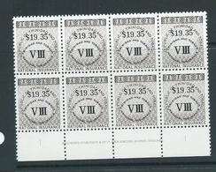 Trinidad & Tobago 1990 $19.35 National Insurance Stamp Bradbury Imprint Block Of 8 MNH - Trinidad & Tobago (1962-...)