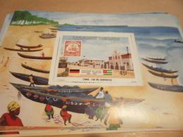 Miniature Sheet 1984 Togolaise Togo German Friendship Line Commerce Street - Togo (1960-...)