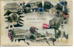 75001 PARIS - Souvenir De Paris 1er Arrondissement - Cadre Fleurs Dont Bleuet, Fougère Et Panicaut - Arrondissement: 01