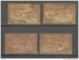 Tanzania 1985 Trains Gold Stamp Set Of 4 22 Carat Gold Foil Self Adhesive Stamps MNH - Tanzania (1964-...)