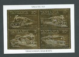 Tanzania 1985 Trains Gold Stamp Miniature Sheet Perforated 22 Carat Gold Foil Self Adhesive Stamps MNH - Tanzania (1964-...)
