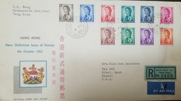 O) 1962 HONG KONG, QUEEN ELIZABETH , POSTAGE STAMP HONG KONG, REGISTERED AIRMAIL TO USA - Hong Kong (1997-...)