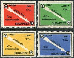 Austria Hungary WIEN - BUDAPEST Railway Eisenbahn TRAIN Zug CAR Airplane Poster Vignette Reklamemarke Österreich Ungarn - Trenes
