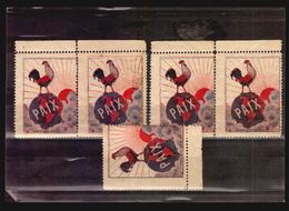 WWI End Of War Patriotic Cinderella Rooster France Coq Art Deco Red Raising Sun Poster Stamp Amerique Du Sud Paix A_4275 - Cinderellas