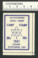 B54-94 CANADA Kitchener Ontario 1967 Scouts Stamp MLH - Local, Strike, Seals & Cinderellas
