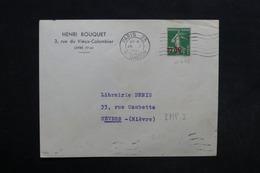 FRANCE - Type Semeuse Surchargé Sur Enveloppe De Paris Pour Nevers En 1941 - L 30507 - Marcofilia (sobres)