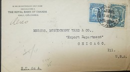 O) 1928 COLOMBIA, SCADTA 30c Blue - PLANE OVER PLANE MAGDALENA RIVER, SANTANDER SCT C42 4c, THE ROYAL BANK OF CANADA, TO - Colombia
