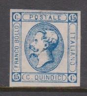 Italy S 13 1862 King Victor Emmanuel II, 15c Blue,mint Hinged - Mint/hinged