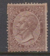 Italy S 19 1863 King Victor Emmanuel II,30c Brown,mint No Gum - 1861-78 Vittorio Emanuele II