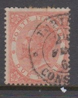 Italy S 22 1863 King Victor Emmanuel II,2 Lire,vermillion,used - 1861-78 Vittorio Emanuele II