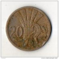 TCHÉCOSLOVAQUIE . REPUBLIKA CESKOSLOVENSKA . 20 HALERU 1924 - Réf. N°114B - - Czechoslovakia