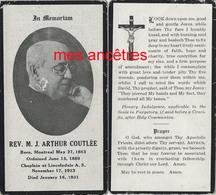 Photo-Faire-part De Décès 1931-Révérend Arthur COUTLEE Né 1863 Montréal-fils De Dominique, écuyer Et M. H. CHENIER - Décès