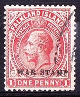 FALKLAND ISLANDS 1918 KGV 1d Vermillion SG71 FU - Falkland Islands