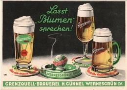 ! Werbung, Reklamekarte Grenzquell Brauerei, H. Günnel, Pilsener, Wernesgrün Im Vogtland, Bier, Lasst Blumen Sprechen ! - Advertising