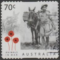 AUSTRALIA - DIE-CUT-USED 2015 70c Animals In War - Donkey And Soldier - 2010-... Elizabeth II
