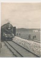 STEAM LOCOMOTIVE VAPEUR TRAIN  RAILWAY RAILROAD ,Men Railway Workers - YUGOSLAVIA - Original Vintage Damaged Photo - Trains