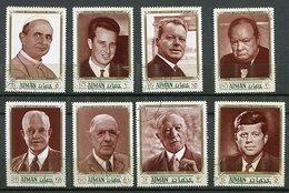 (CL 118) Ajman Ob Michel N° 1246 A à 1253 A - Défenseurs De La Paix (Paul VI, Baudouin, Brandt, Churchill, Eisenhower, D - Ajman