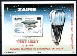 Zaire, 1985, Zeppelin, Balloon, Thieffry, MNH Silver Overprint, Michel Block 51 - Other