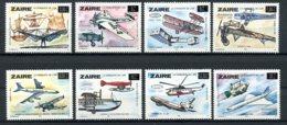 Zaire, 1985, Aviation, Airplanes, MNH Overprinted, Michel 880-887 - Zaïre