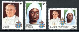 Zaire, 1986, Pope John Paul, Sister Nengapeta , MNH, Michel 928-930 - Zaïre