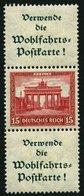 ZUSAMMENDRUCKE S 85 *, 1930, Nothilfe A1.3 + 15 + A1.3, Falzreste, Feinst, Mi. 300.- - Zusammendrucke