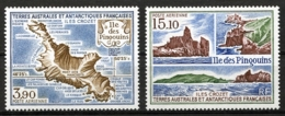 TAAF, FSAT, French Southern Antarctic Territories, 1988, Maps, Ile Des Pingouins, MNH, Michel 237-238 - Terres Australes Et Antarctiques Françaises (TAAF)