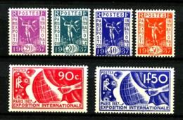322 / 327 - Exposition Paris 1937  - Série Complète 6 Valeurs - Neufs N** - Très Beaux - Frankreich