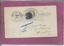 UNITED-STATES - POSTAL CARD  BRADFORD 1891 - United States